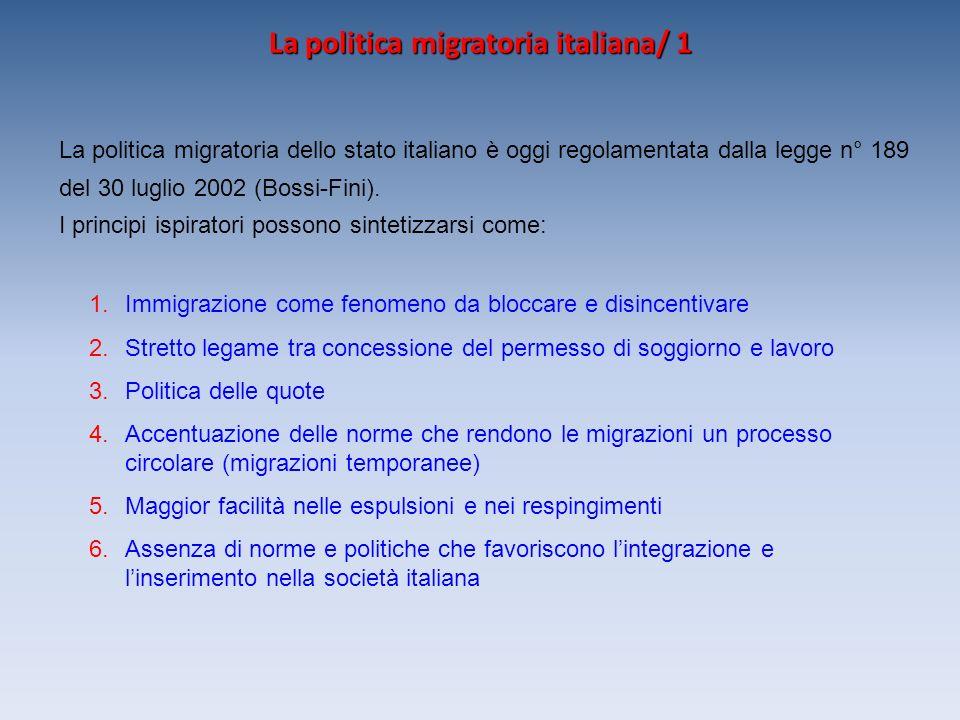 La politica migratoria italiana/ 1