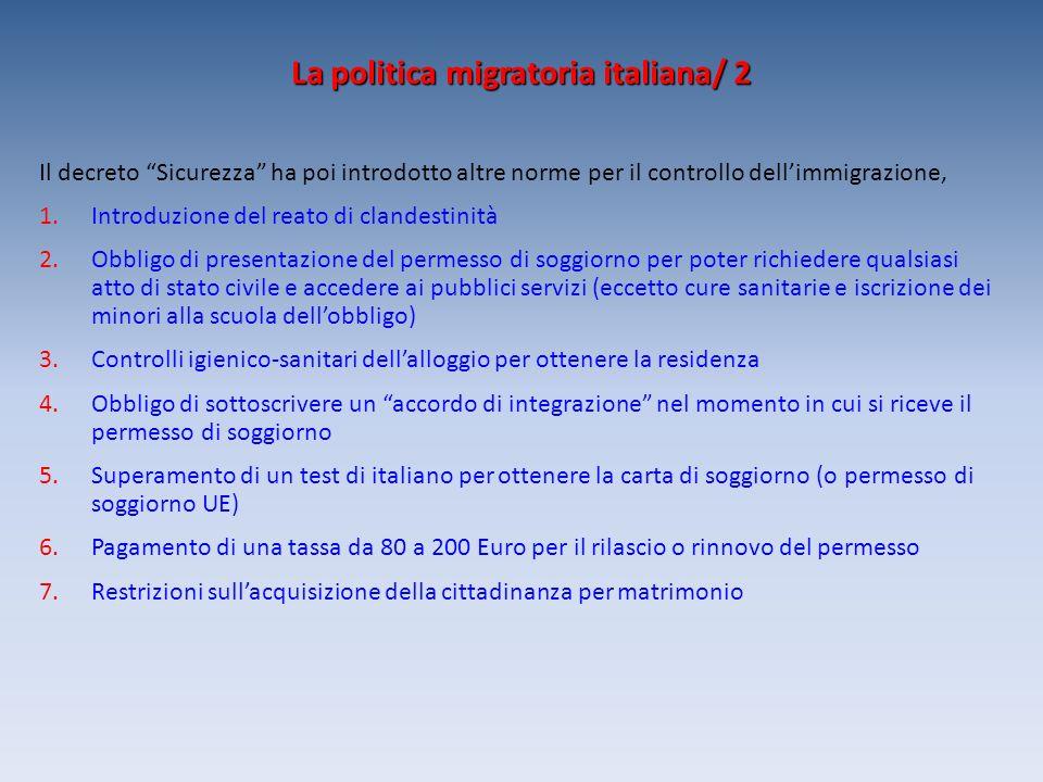 La politica migratoria italiana/ 2