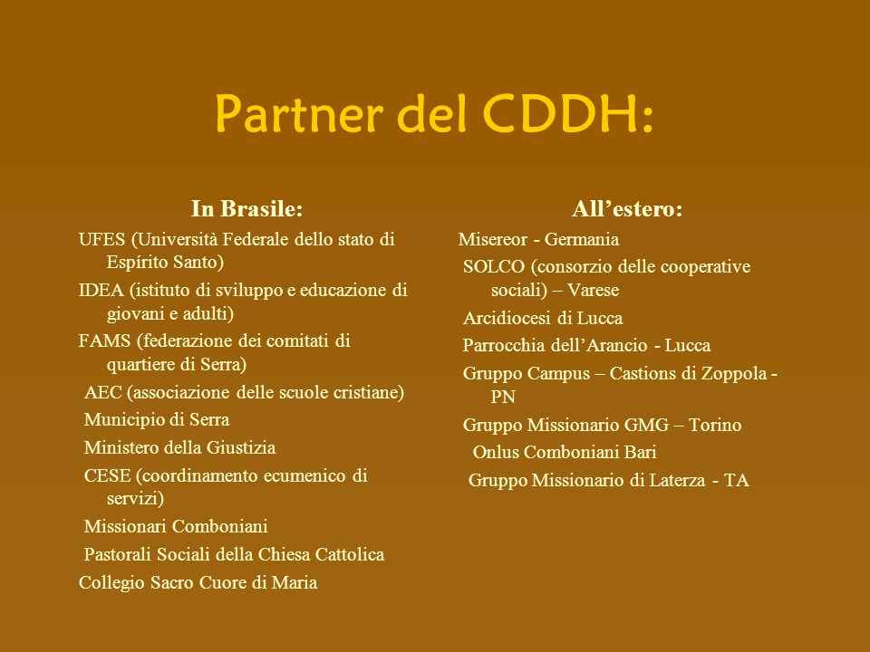 Partner del CDDH: In Brasile: All'estero: