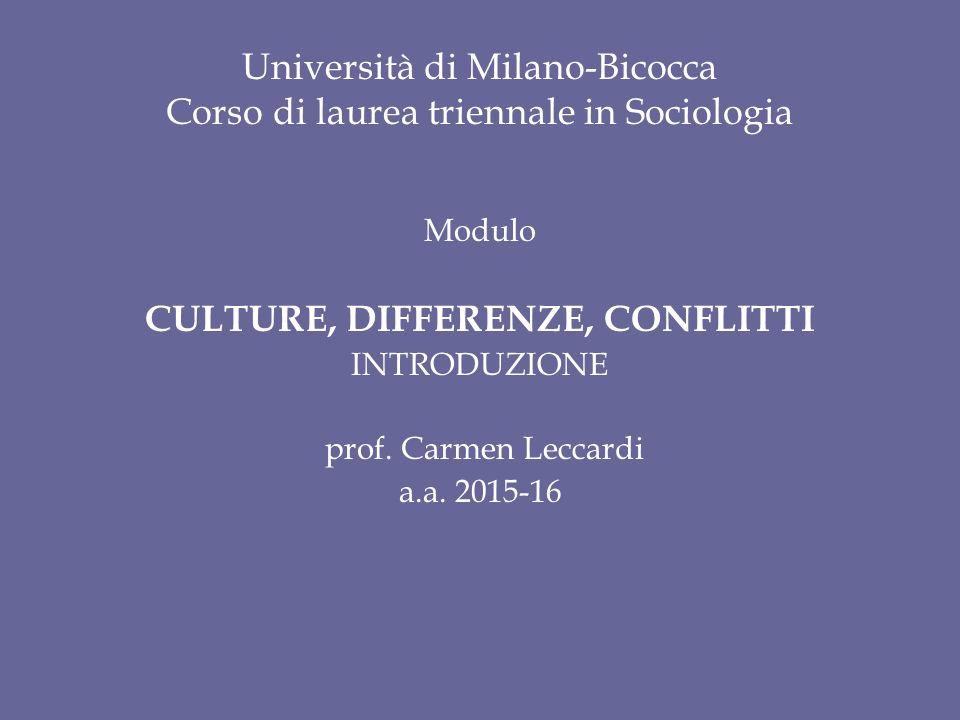 Università di Milano-Bicocca Corso di laurea triennale in Sociologia