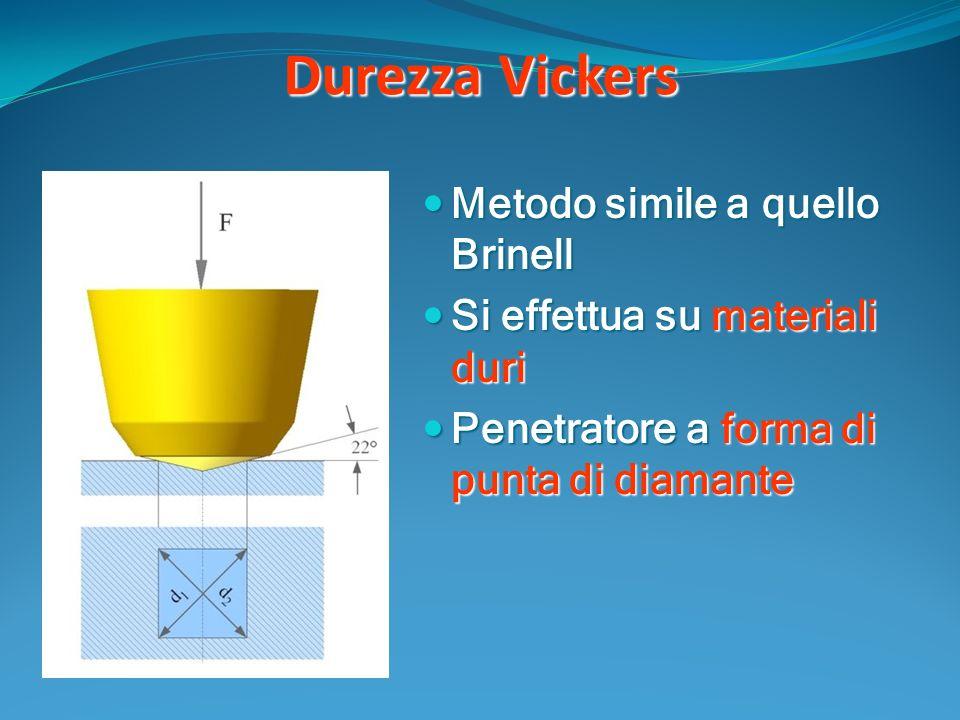 Durezza Vickers Metodo simile a quello Brinell