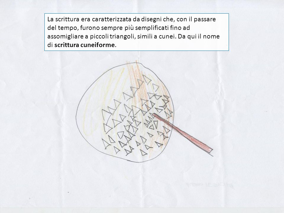 La scrittura era caratterizzata da disegni che, con il passare del tempo, furono sempre più semplificati fino ad assomigliare a piccoli triangoli, simili a cunei.