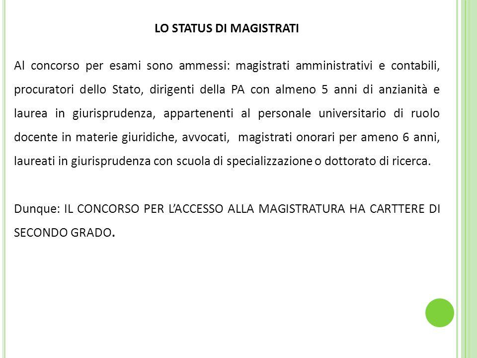 LO STATUS DI MAGISTRATI