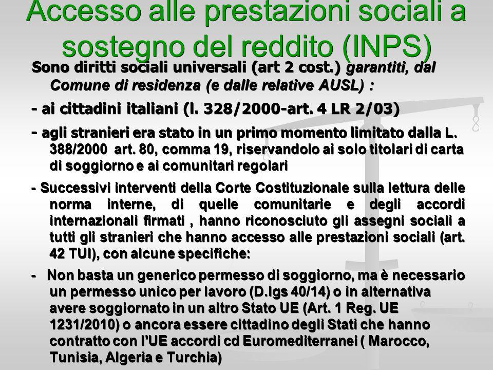 Le prestazioni sociali assistenziali e socio sanitarie for Reddito per permesso di soggiorno