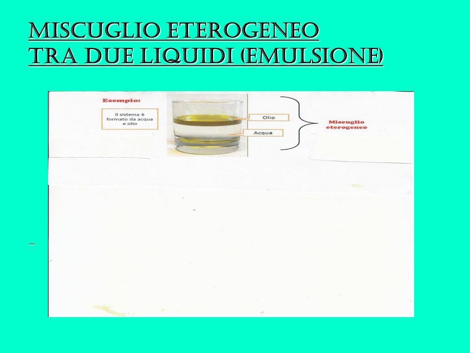 Miscuglio eterogeneo tra due liquidi (emulsione)