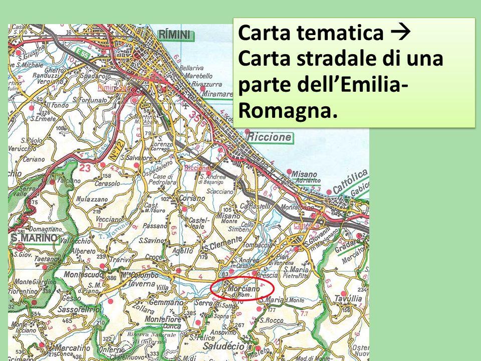 Carta tematica  Carta stradale di una parte dell'Emilia-Romagna.