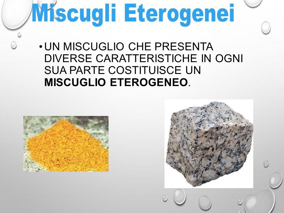 Miscugli Eterogenei UN MISCUGLIO CHE PRESENTA DIVERSE CARATTERISTICHE IN OGNI SUA PARTE COSTITUISCE UN MISCUGLIO ETEROGENEO.