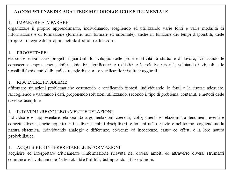 A) COMPETENZE DI CARATTERE METODOLOGICO E STRUMENTALE
