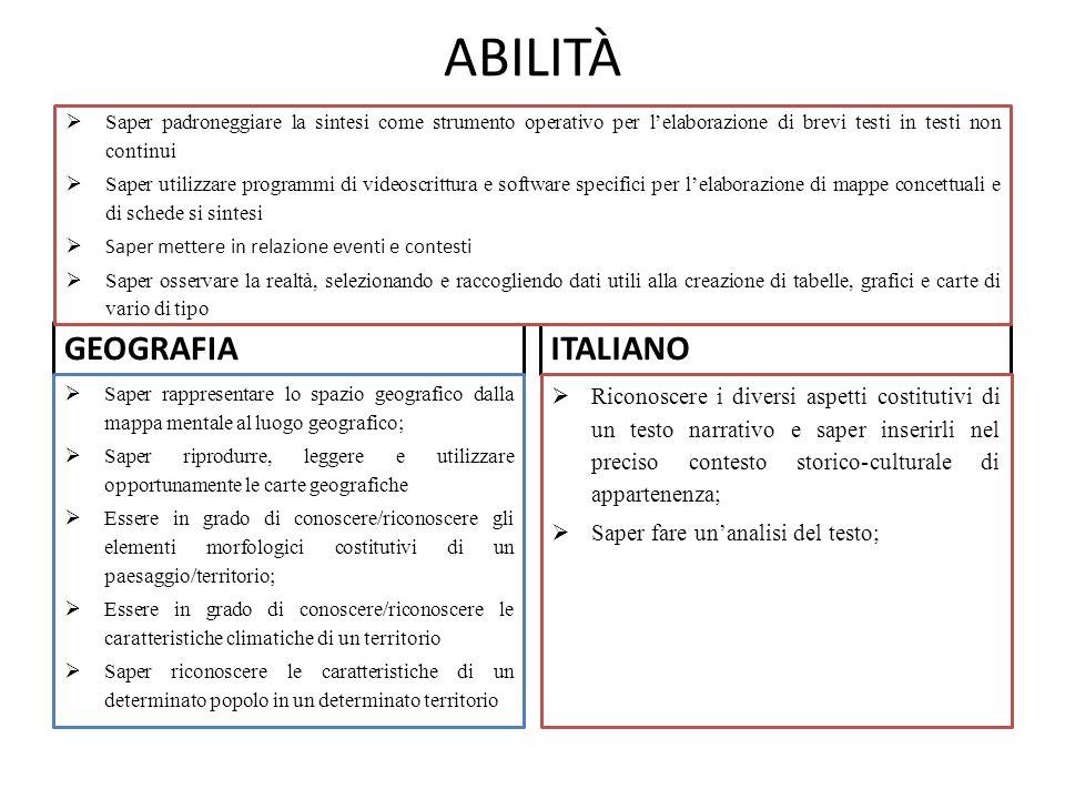 ABILITÀ GEOGRAFIA ITALIANO