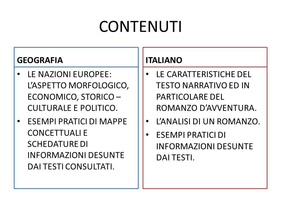 CONTENUTI GEOGRAFIA ITALIANO