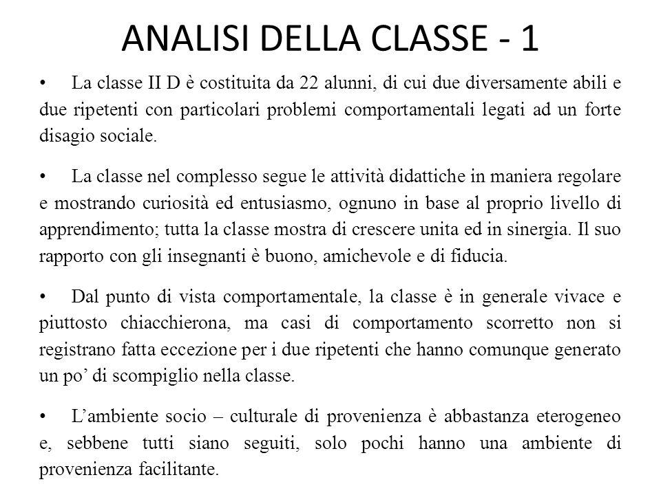 ANALISI DELLA CLASSE - 1
