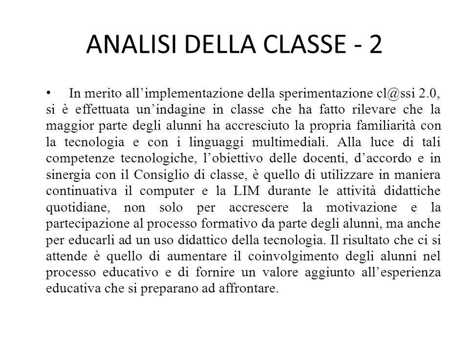 ANALISI DELLA CLASSE - 2