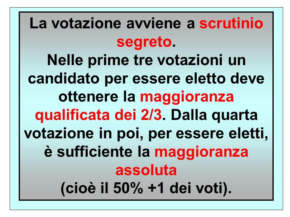 La votazione avviene a scrutinio segreto.