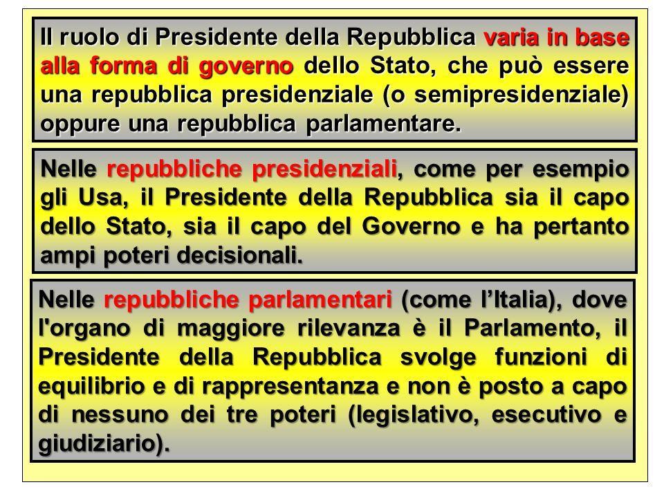 Il ruolo di Presidente della Repubblica varia in base alla forma di governo dello Stato, che può essere una repubblica presidenziale (o semipresidenziale) oppure una repubblica parlamentare.