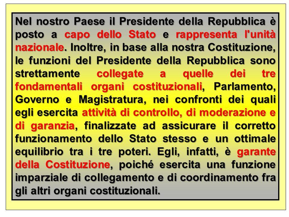 Nel nostro Paese il Presidente della Repubblica è posto a capo dello Stato e rappresenta l unità nazionale.