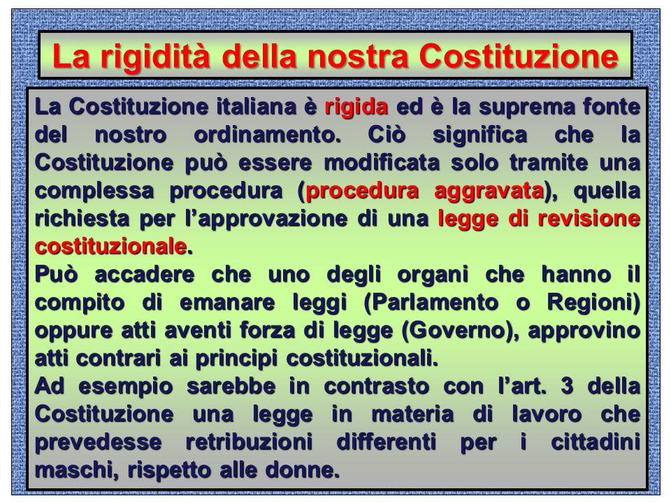 La rigidità della nostra Costituzione