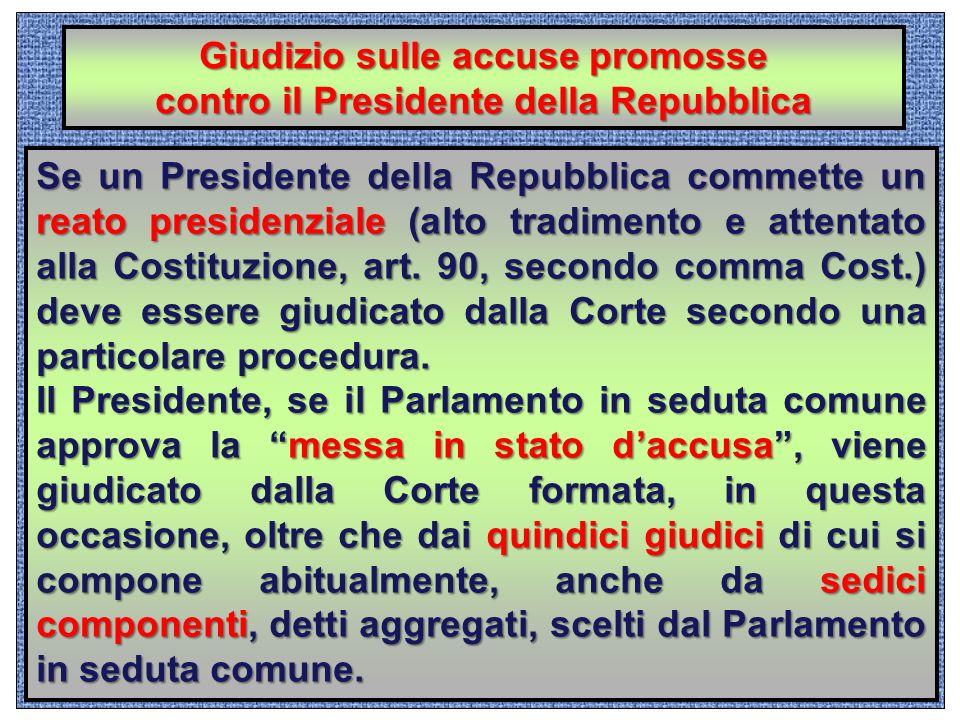 Giudizio sulle accuse promosse contro il Presidente della Repubblica