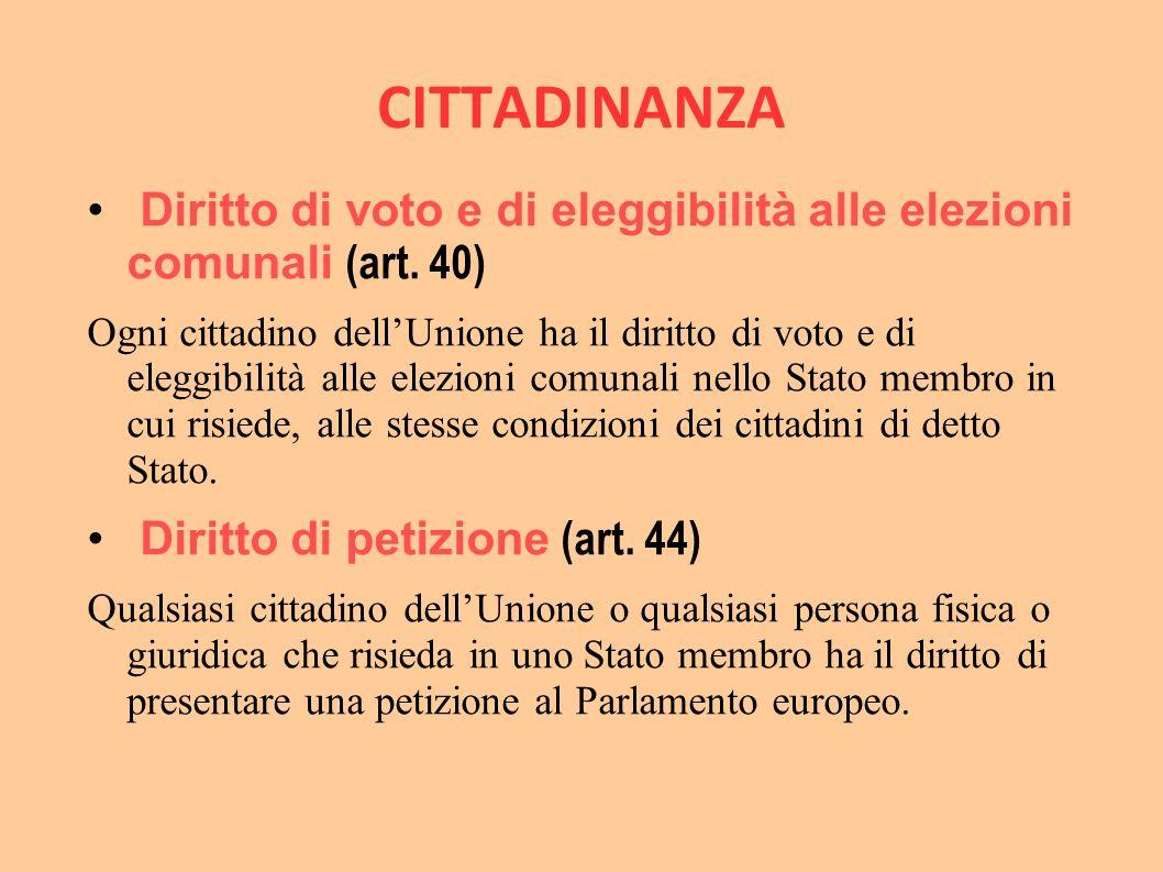 CITTADINANZA Diritto di voto e di eleggibilità alle elezioni comunali (art. 40)
