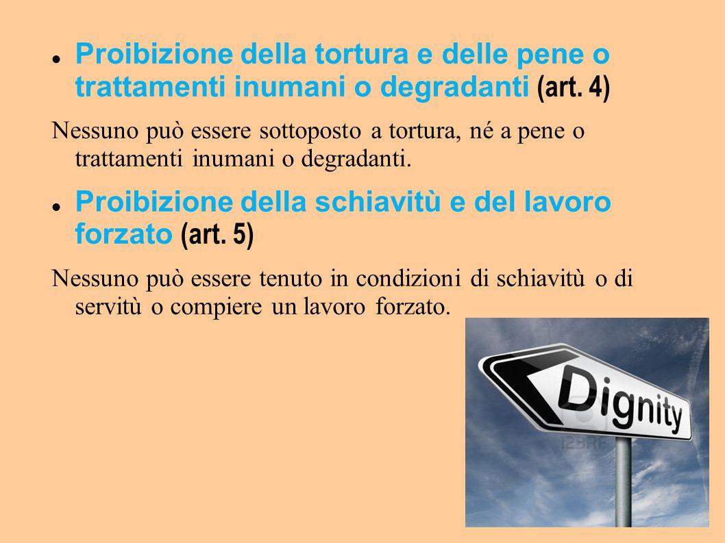Proibizione della schiavitù e del lavoro forzato (art. 5)