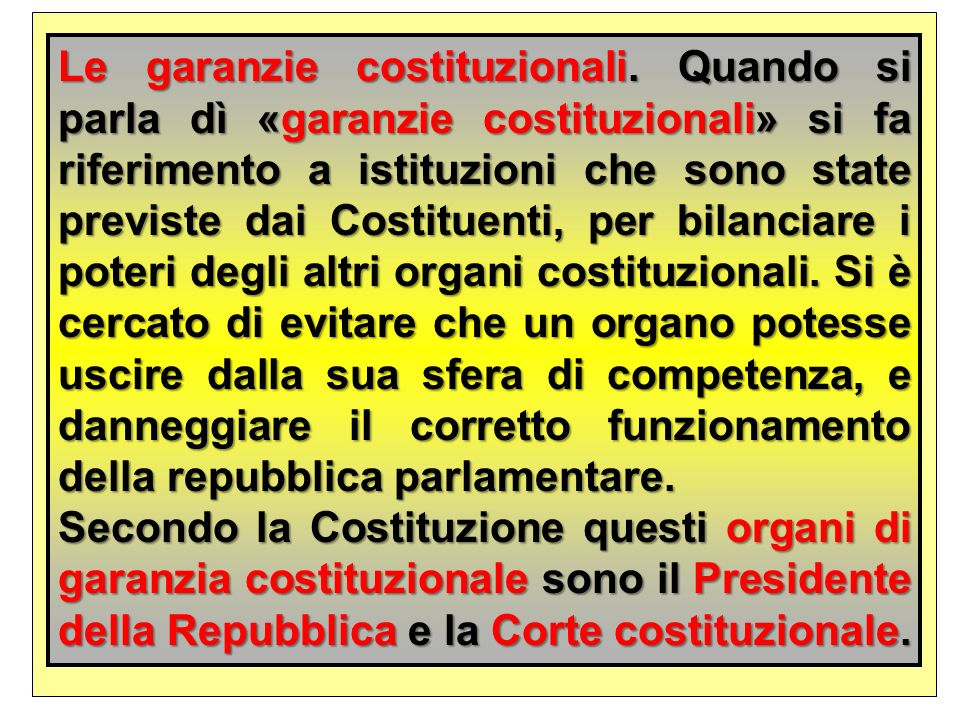 Le garanzie costituzionali
