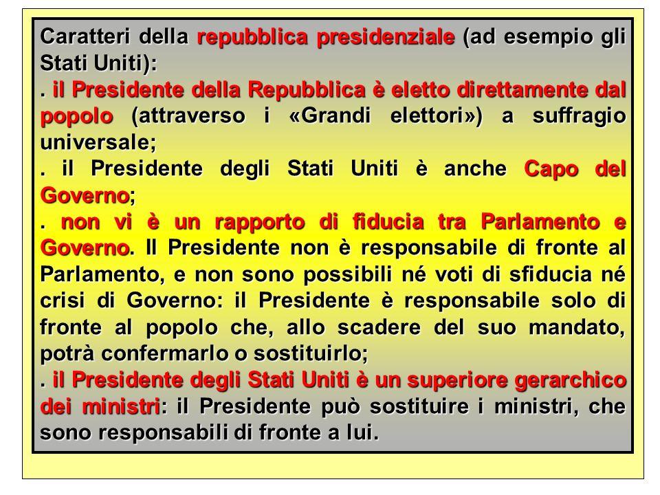 Caratteri della repubblica presidenziale (ad esempio gli Stati Uniti):