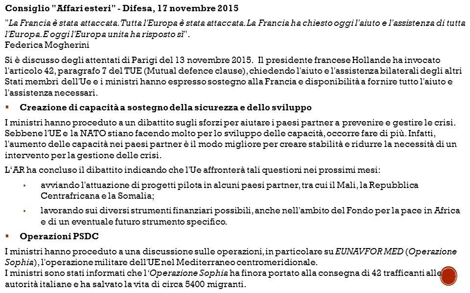 Consiglio Affari esteri - Difesa, 17 novembre 2015