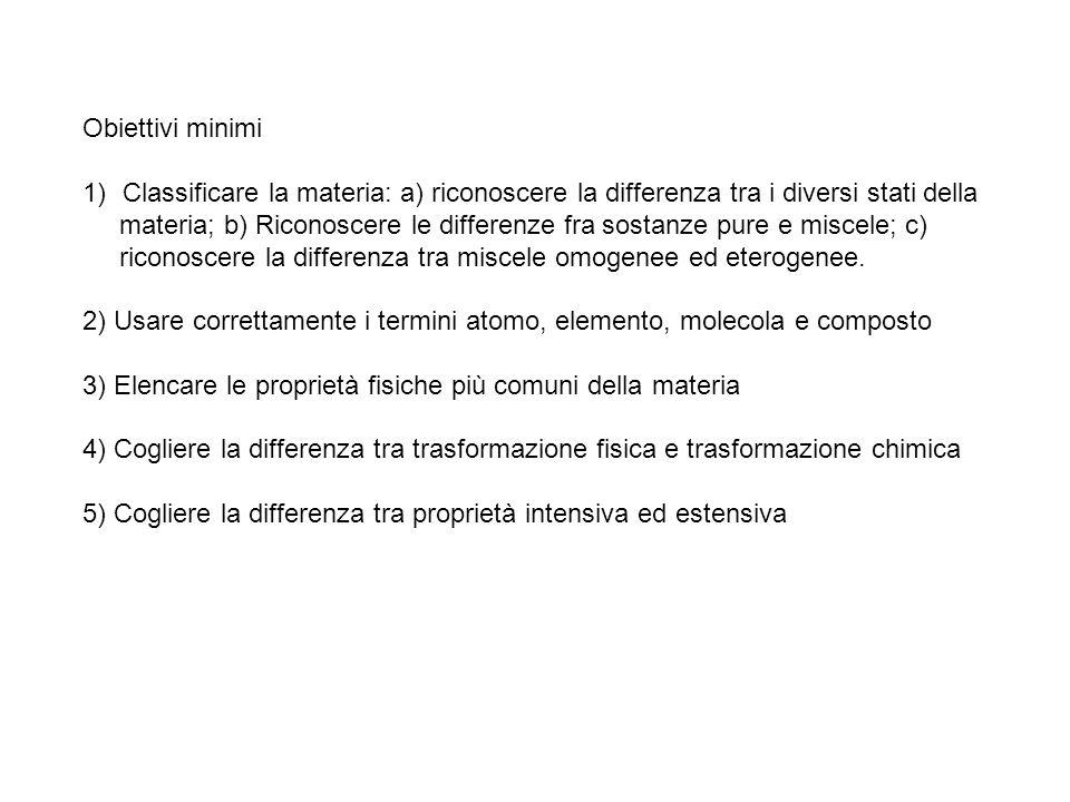 Obiettivi minimi Classificare la materia: a) riconoscere la differenza tra i diversi stati della.