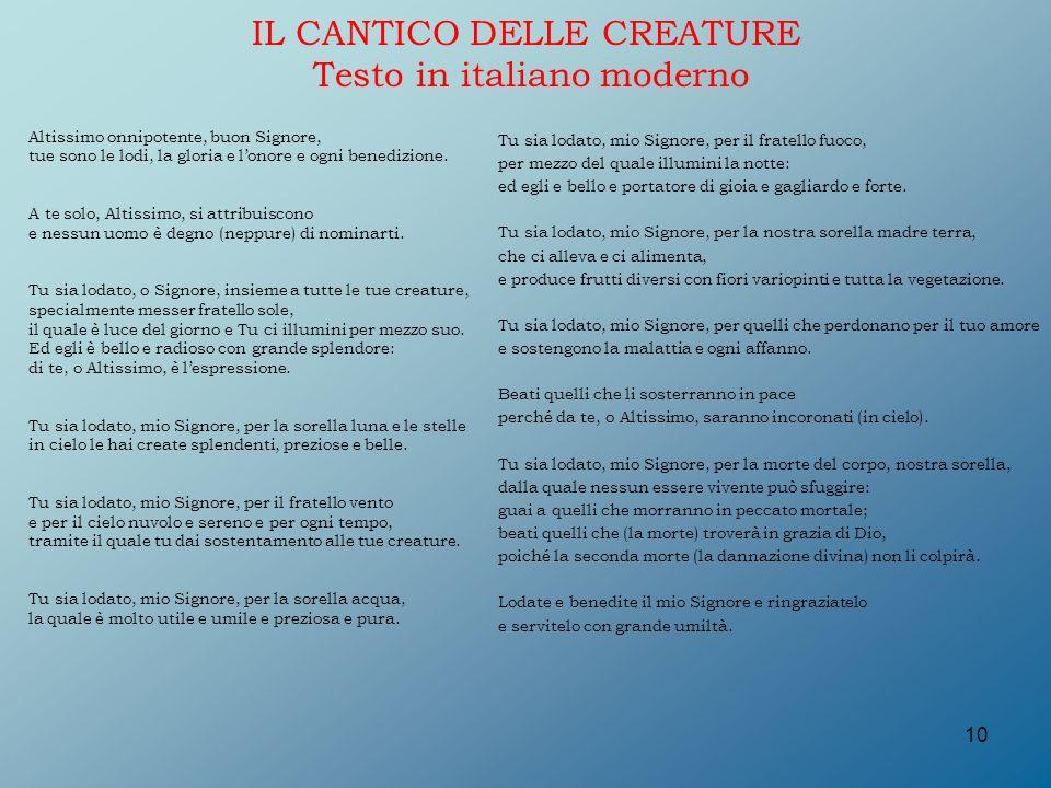 IL CANTICO DELLE CREATURE Testo in italiano moderno