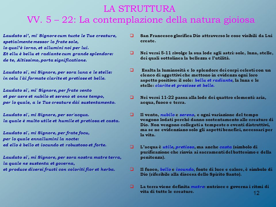 LA STRUTTURA VV. 5 – 22: La contemplazione della natura gioiosa