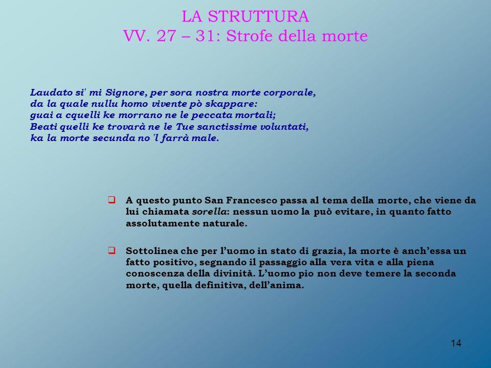 LA STRUTTURA VV. 27 – 31: Strofe della morte