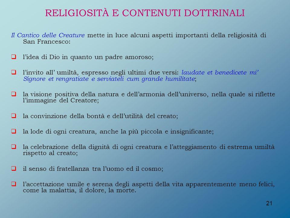 RELIGIOSITÀ E CONTENUTI DOTTRINALI