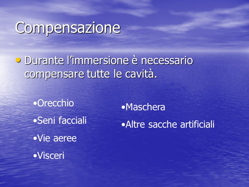 Apnea aquilablu lezione ppt scaricare for Seni diversi