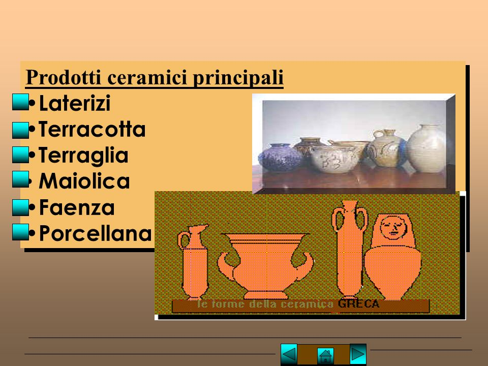 Prodotti ceramici principali Laterizi Terracotta Terraglia Maiolica