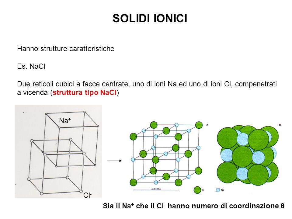 SOLIDI IONICI Hanno strutture caratteristiche Es. NaCl