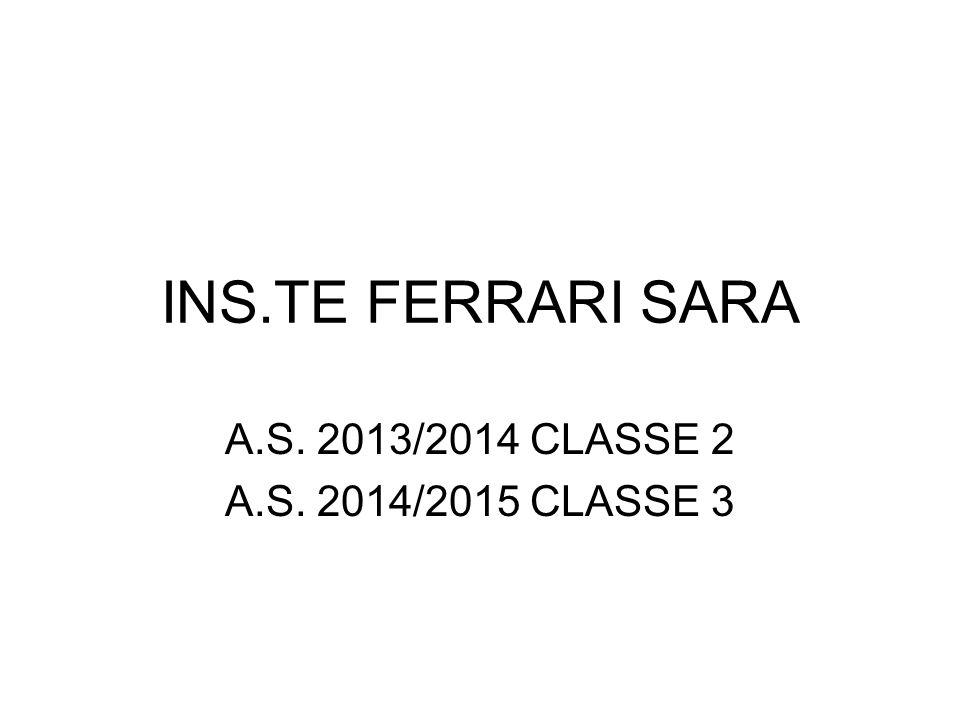 INS.TE FERRARI SARA A.S. 2013/2014 CLASSE 2 A.S. 2014/2015 CLASSE 3