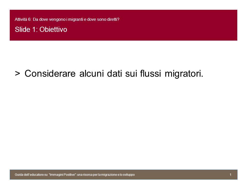 Considerare alcuni dati sui flussi migratori.