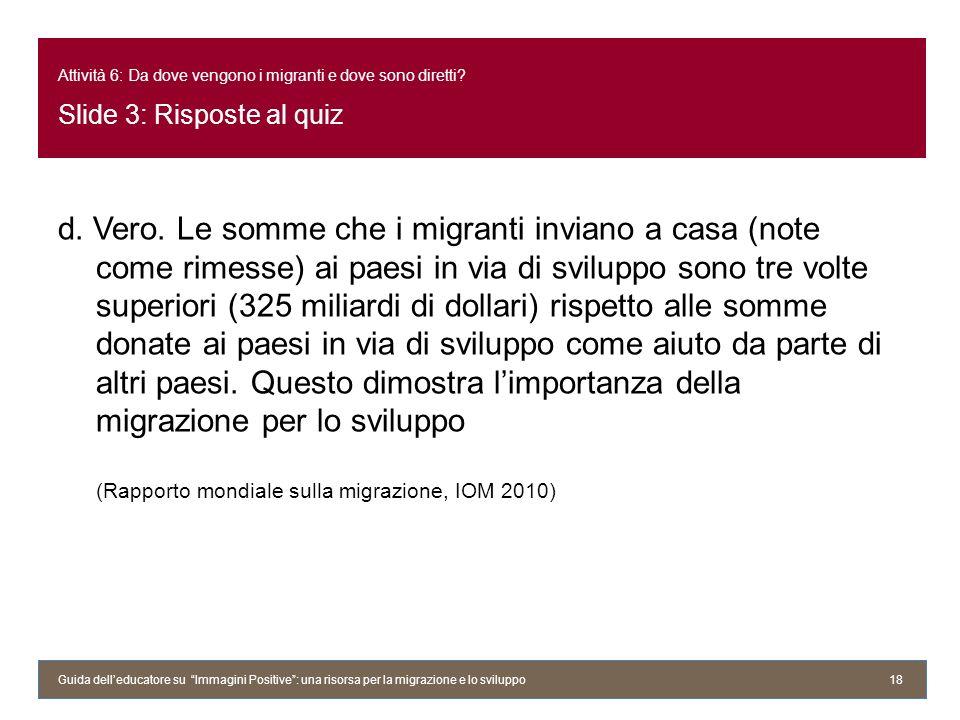 Attività 6: Da dove vengono i migranti e dove sono diretti