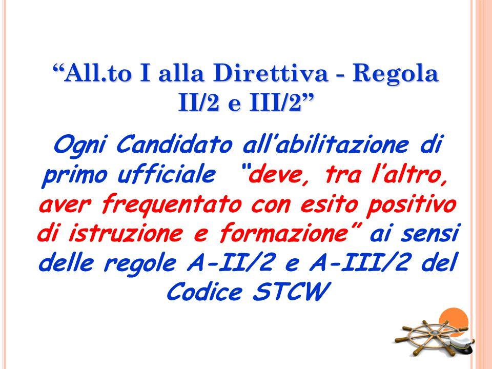 All.to I alla Direttiva - Regola II/2 e III/2 Ogni Candidato all'abilitazione di primo ufficiale deve, tra l'altro, aver frequentato con esito positivo di istruzione e formazione ai sensi delle regole A-II/2 e A-III/2 del Codice STCW