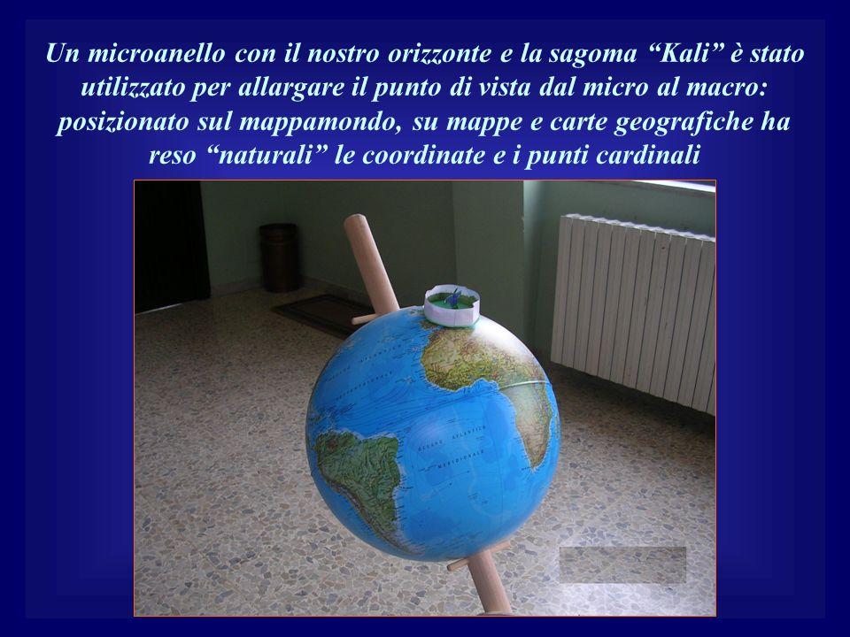 Un microanello con il nostro orizzonte e la sagoma Kali è stato utilizzato per allargare il punto di vista dal micro al macro: posizionato sul mappamondo, su mappe e carte geografiche ha reso naturali le coordinate e i punti cardinali