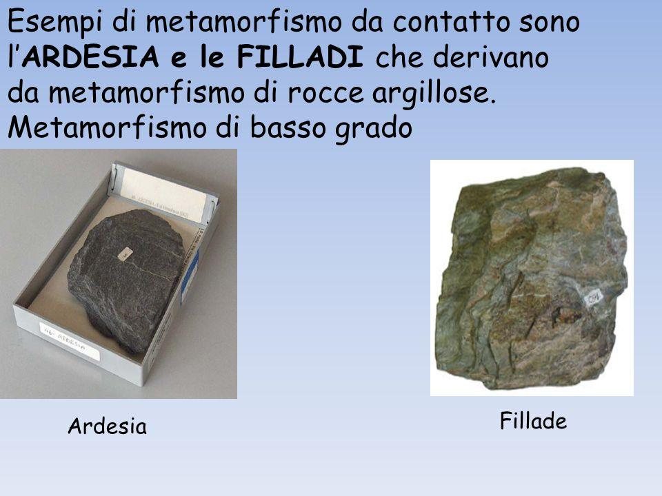 Esempi di metamorfismo da contatto sono l'ARDESIA e le FILLADI che derivano da metamorfismo di rocce argillose. Metamorfismo di basso grado