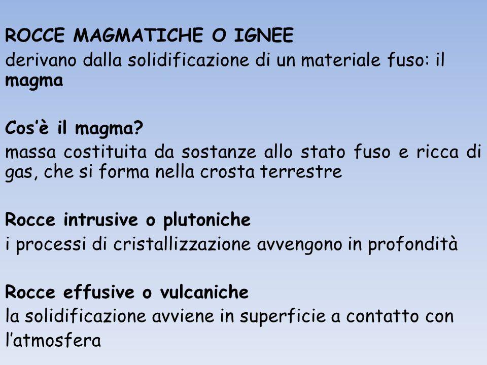 ROCCE MAGMATICHE O IGNEE derivano dalla solidificazione di un materiale fuso: il magma Cos'è il magma.