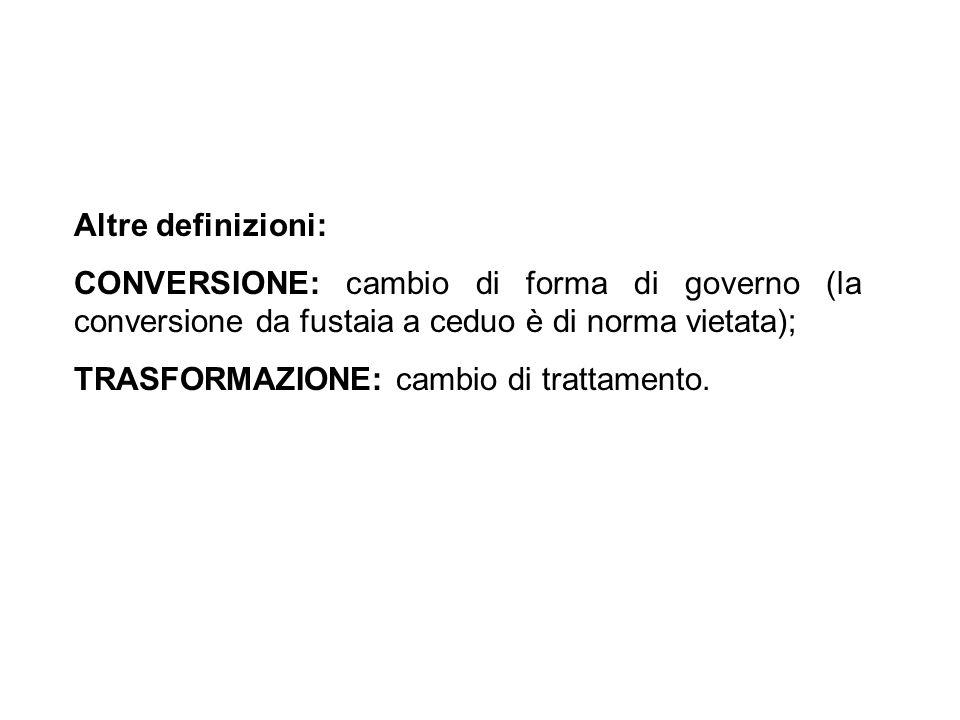 Altre definizioni:CONVERSIONE: cambio di forma di governo (la conversione da fustaia a ceduo è di norma vietata);