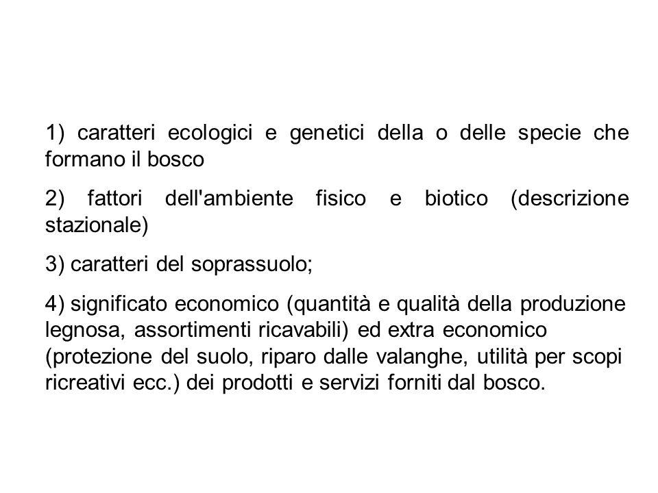 1) caratteri ecologici e genetici della o delle specie che formano il bosco