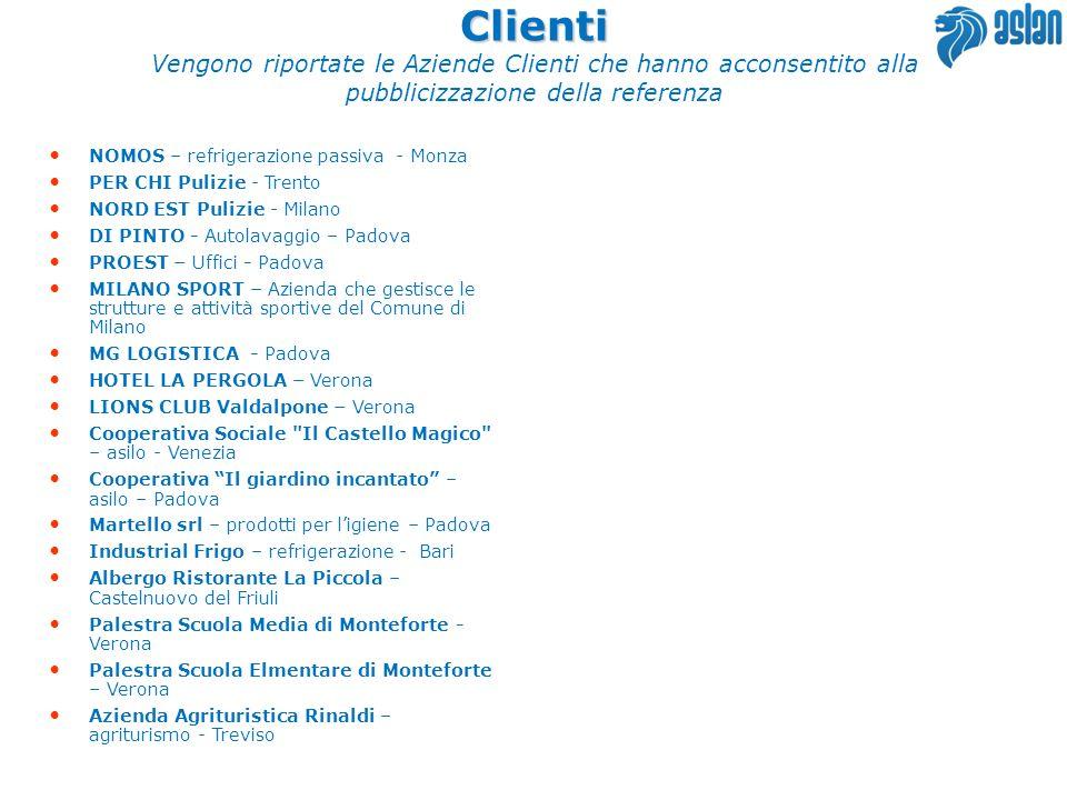 Clienti Vengono riportate le Aziende Clienti che hanno acconsentito alla pubblicizzazione della referenza.