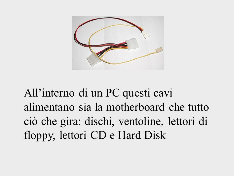 All'interno di un PC questi cavi alimentano sia la motherboard che tutto ciò che gira: dischi, ventoline, lettori di floppy, lettori CD e Hard Disk