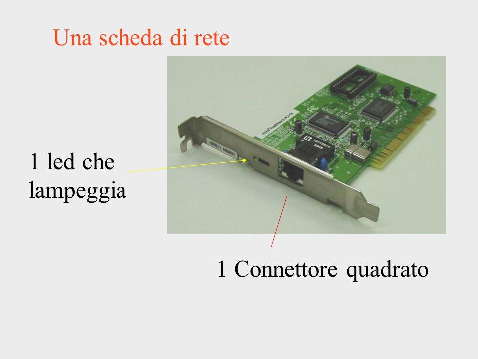 Una scheda di rete 1 led che lampeggia 1 Connettore quadrato