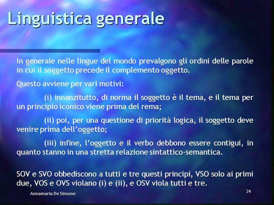 Linguistica generale In generale nelle lingue del mondo prevalgono gli ordini delle parole in cui il soggetto precede il complemento oggetto.