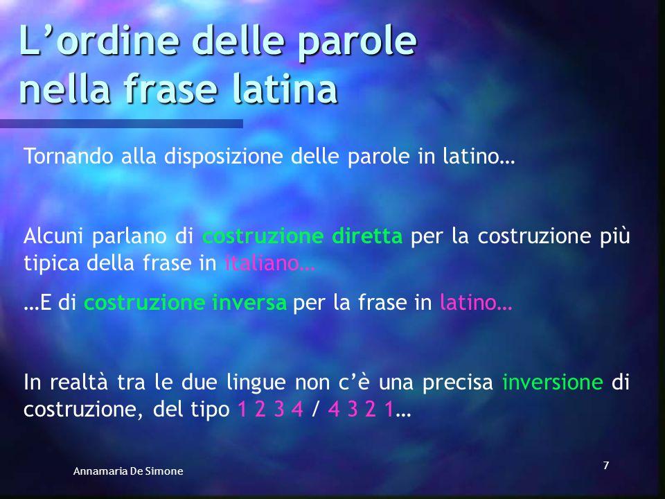 L'ordine delle parole nella frase latina
