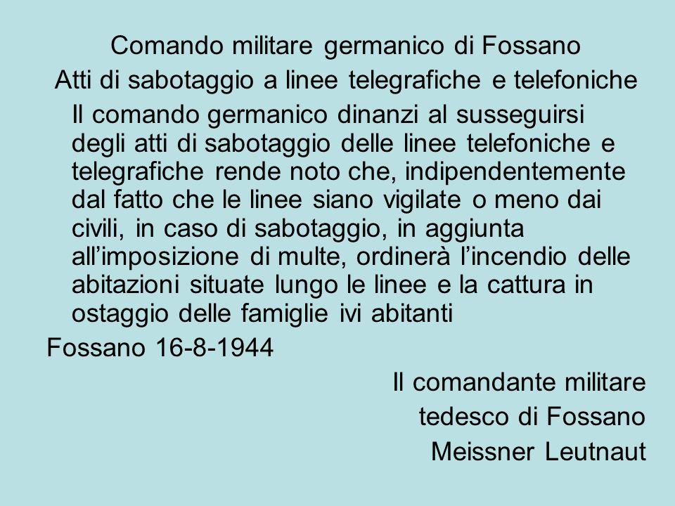 Comando militare germanico di Fossano