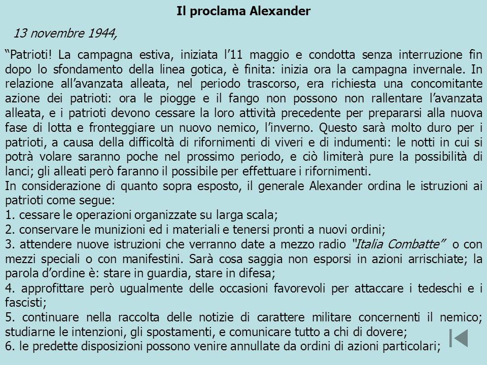 Il proclama Alexander 13 novembre 1944,